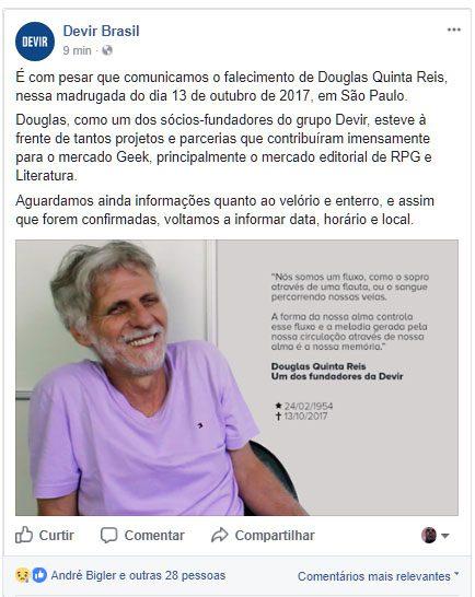 Comunicado oficial da Devir, sobre o falecimento de Douglas Quinta Reis