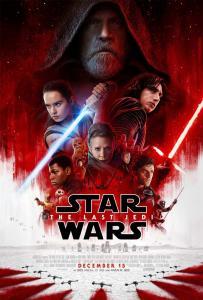 Versão em inglês do poster, para salas de cinema, de Star Wars: Os Últimos Jedi