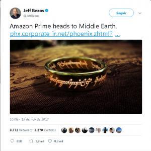 Jeff Bezos divulga a aquisição da licença, para um seriado de O Senhor dos Anéis