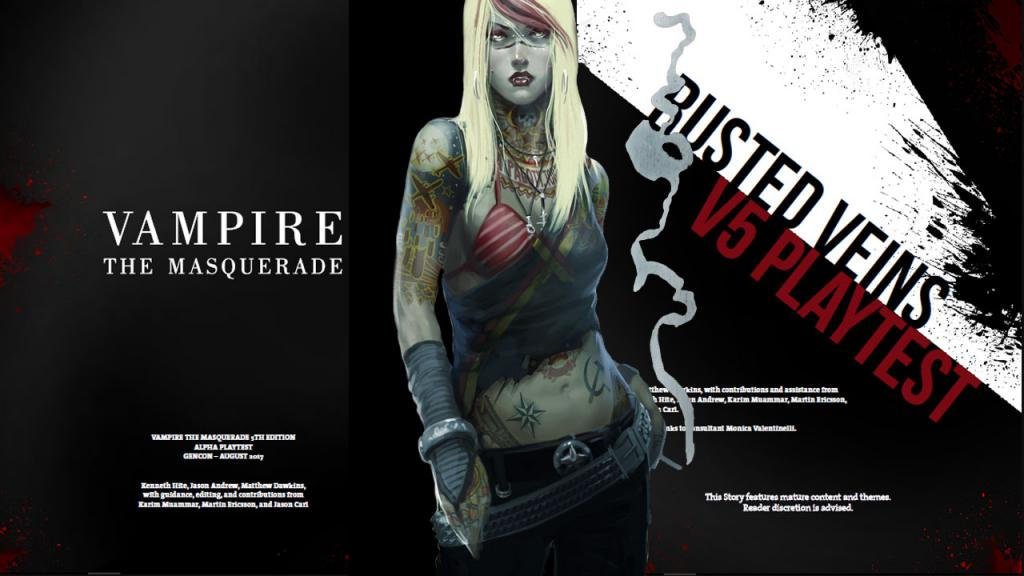 Já está disponível o Kit Alpha da 5ª Edição de Vampire The Masquerade