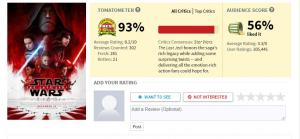 Pontuação do Star Wars The Last Jedi no Rotten Tomatoes